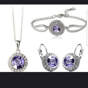 Jewelry - Brand New purple 3pc crystal bridal jewelry set